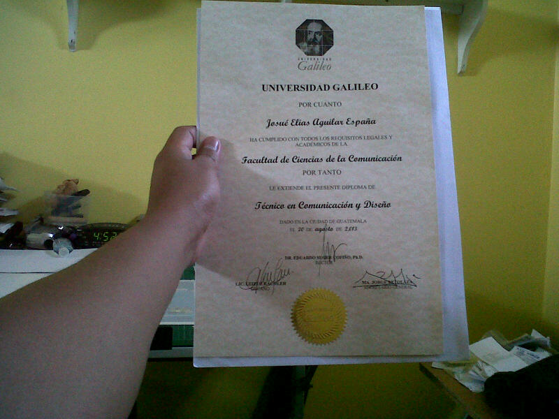 Josue' diploma last month from graduation from the university. Still has one to go.