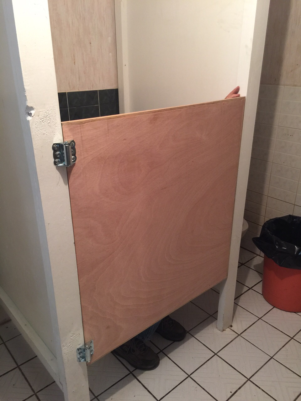 The government wnted these half-doors on all toilets so Bob, Larry & our boys are constructing and installing them
