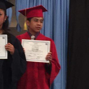 Jacobo receiving his diploma.