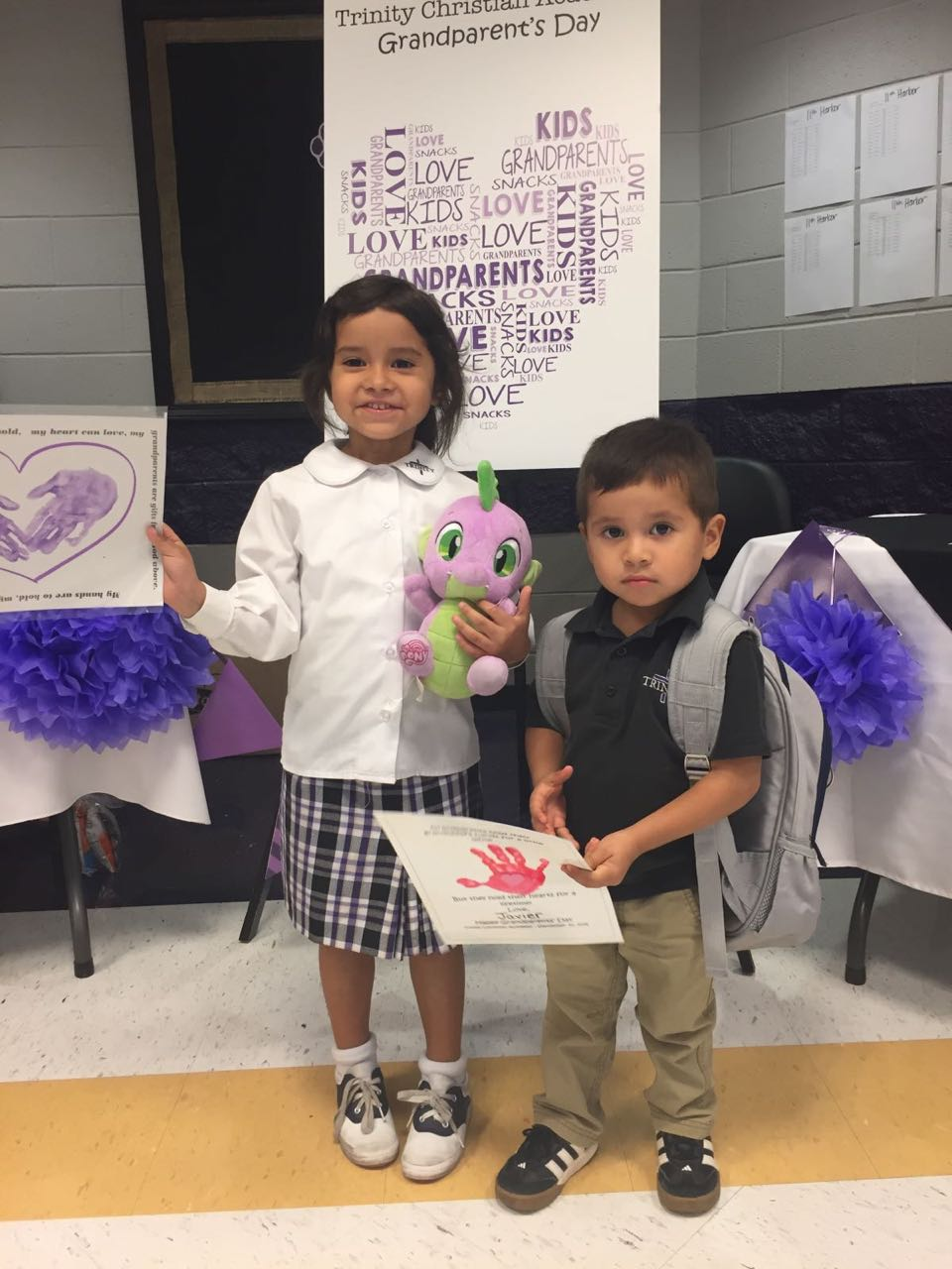 Our grandchildren wishing us Happy Grandparents Day. Isabella and Javi