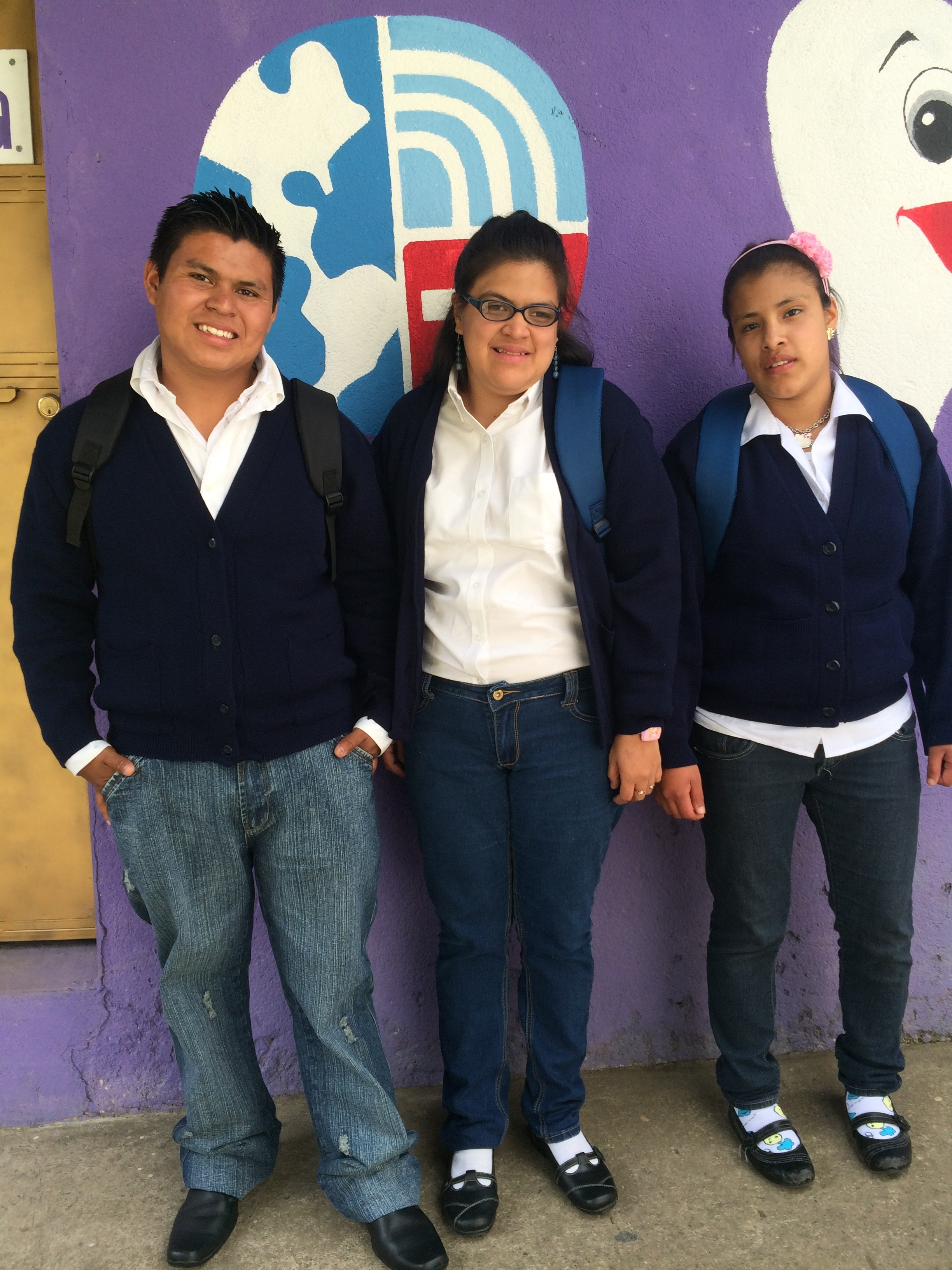 Oscar, Michelle and Tatiana on their way to school in Antigua